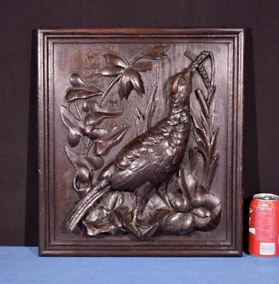 *Antique French Hunting Style Carved Panel in Solid Oak Wood w/Bird Salvage 2