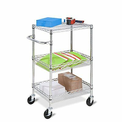 Honey-Can-Do CRT-01451 Heavy Duty Rolling Utility Cart - Chrome Wire - 3-Tier