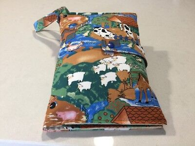 Nappy Wallet With 4 Pockets, On The Farm, Handmade, New