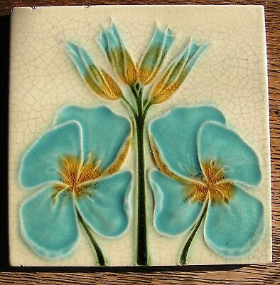 Art Nouveau Tile Aqua and Goldenrod Flowers on Cream Background