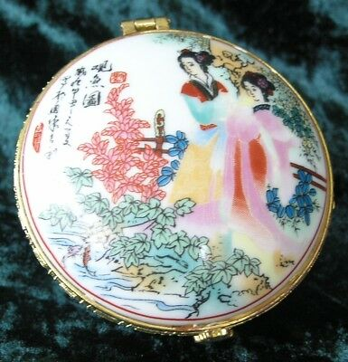 Genuine Porcelain  Hand Painted Chinese Jewellery Box in excellent condition