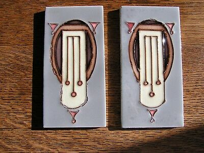 Pair of Deco tiles Bootes tube-lined antique tiles (lavender)