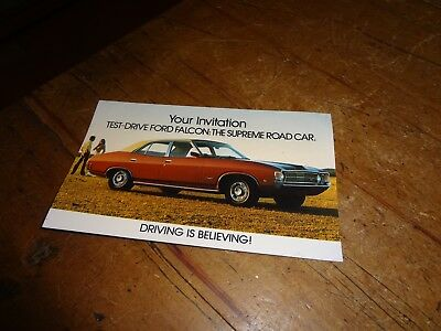 POST CARD SIZE ADVERTISING BROCHURE NOS GENUINE FOR FORD XA FALCON FoMoCo 1972