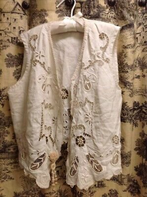 Circa 1900 Ladies Summer White Linen Vest With Cut work And Embroidery