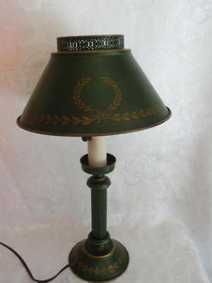 Vtg Mid Century Hand Painted Green Antique Gold Tole Toleware Metal Desk Lamp 18