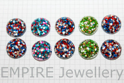 10 x Mixed Colours Confetti Glitter Resin Flatback 12x12mm Cabochon Cameo