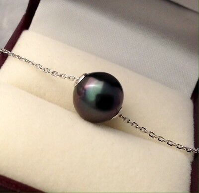 Free Shipping! 9.5mm AAA Tahitian Pearl floating on a 9k Solid White Gold Chain