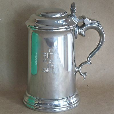 Pewter Brooks Brothers Lidded Stein Tankard England 1961 (Engraved)