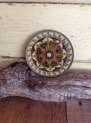 SMALL VINTAGE BYZANTINE MOSAIC BRASS ENAMELLED WALL DISPLAY PLATE 9cm
