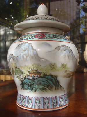 Vintage Chinese Hand Painted Lidded Ginger Jar Mountain House Boat Stamped 06