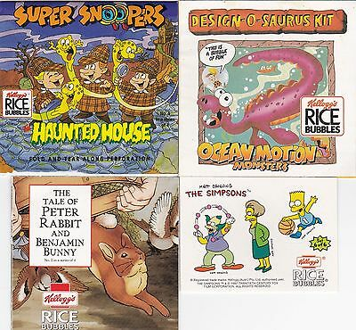 Kelloggs Rice Bubbles Super Snooper+ Peter Rabbit+ Design-o-saurus kit+ Simpsons