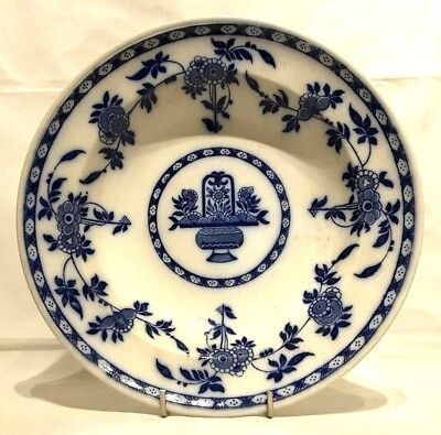 "Minton~Antique~Georgian~DELFT~England~Blue & White~Soup~Bowl~Plate~9""D~c.1870+"