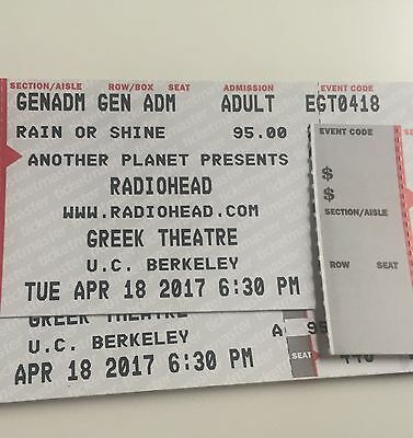 2 Hard Tickets GA Radiohead 4/18/17 Greek Theatre - Berkeley General Admission