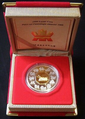 "Canada 1999 Chinese Lunar YEAR OF RABBIT / HARE "" 24 ct Gold Plate & Silver Coin"