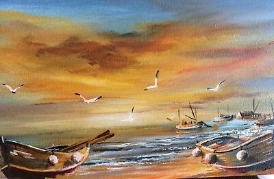 ORIGINAL ACRYLIC SEASCAPE PAINTING SiZE LENGTH 15 x WIDTH 7.5x DEPTH .5 INCHES