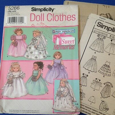 "18"" Bridal Doll Clothes - Simplicity 5266 - New Factory Folded, Uncut Pattern"