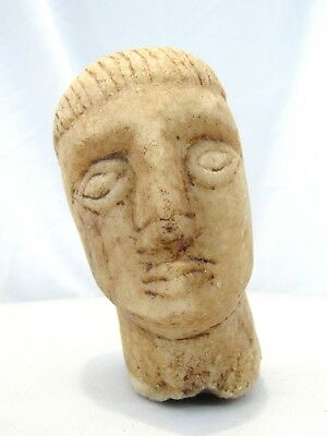 Old Antique Primitive Hand Carved Marble Stone Head Bust Archaic Art Carving
