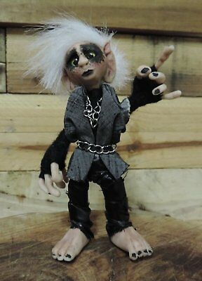 Trent the fully poseable Gothic Gnome. Ooak dolls art collectibles troll fairy