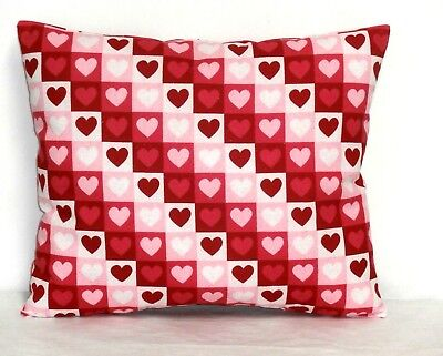 Valentine Day Toddler Pillow Hearts on Red & White Cotton 28-3P New Handmade