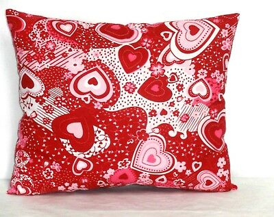 Valentine Day Toddler Pillow Hearts on Red Cotton 6-9P New Handmade