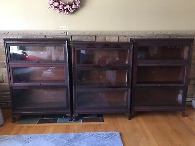 3 Antique Macey Mahogany Barrister Stacking Bookcase