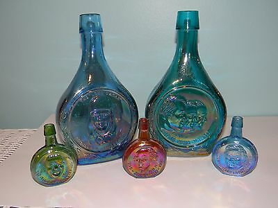 Lot of 5 Wheaton NJ Bottles Apollo 14, Lindbergh, Fillmore, Roosevelt, Adams