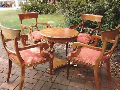 4 Mahogany Wood Wide Antique Victorian Style Lounge Chairs- Preloved 2003