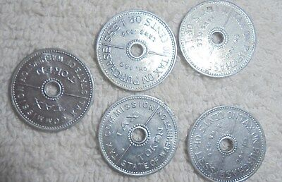Vintage State of Washington Tax tokens lot of 5