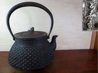 Japanese Antique KANJI old Iron Tea Kettle Tetsubin teapot Chagama 2361