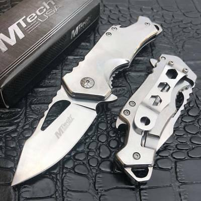 MTech Ballistic Spring Assisted Silver Blade Small Pocket Knife w/ Bottle Opener