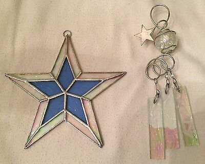 "2 STAINED GLASS ""STAR"" SUN CATCHERS ~ Beautiful!"