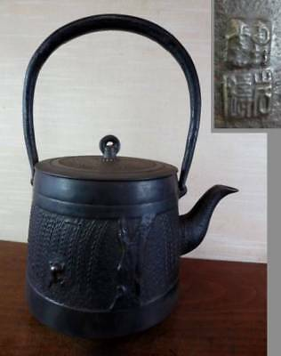 Japanese Antique KANJI old Iron Tea Kettle Tetsubin teapot Chagama 2365