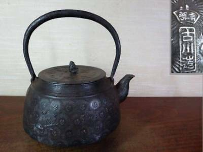 Japanese Antique KANJI old Iron Tea Kettle Tetsubin teapot Chagama 2366