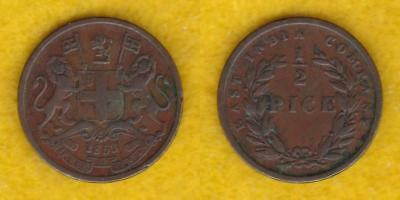 British Empire East India Company 1/2 Pice 1853  ---  Beaf