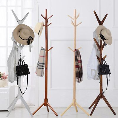 8 Hooks 4 Colors Coat Hat Bag Clothes Rack Stand Tree Style Hanger Wooden IN C