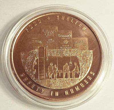 """1 OZ Pure 999.0 Copper Bullion Coin """"Food & Shelter"""" Safety in Numbers series"""