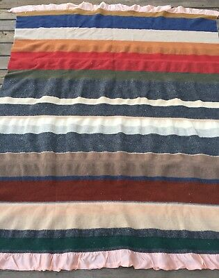 Vintage Striped Large Wool Blanket Vibrant Color Maker Unknown Retro