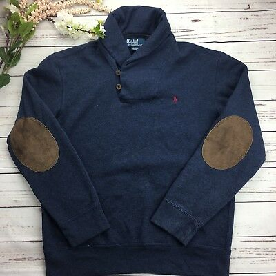 Vintage Polo Ralph lauren Pullover Sweater Navy size Large elbow patch shawl