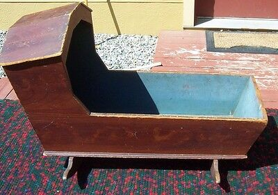 Antique 1800's Primitive Wooden Baby Cradle with Old Blue Interior Paint