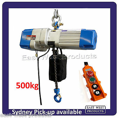 ELECTRIC CHAIN HOIST 500kg capacity CSH50 6m drop with chain bag and pendant