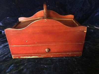 Small Wooden Sewing Box with Drawer and Storage
