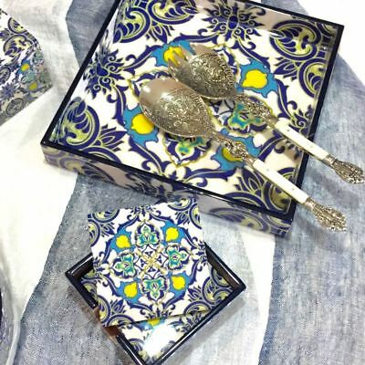 Lacquer Tray Square Serving Entertaining Wood Moroccan Pattern Blue White & Yell
