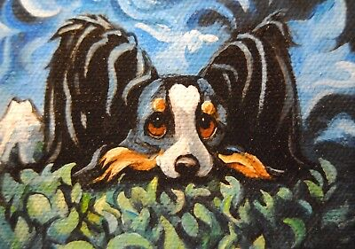 Original Painting~Papillon~Dog~Hand Painted~Whimsical~PoP Art~Contemporary~Color