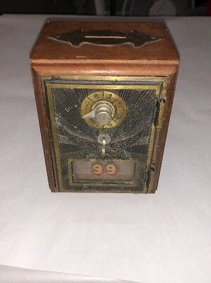 "Odyssey Creations Vintage Post Office Lockbox Safe Coin Bank  4.5"" W x 5.75"" T"