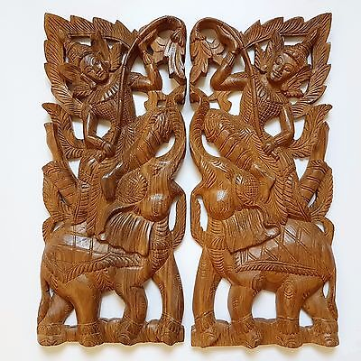 Hand Carved Wall Sculpture Hanging Teak Wood Wooden Faerie Elephants Home Decor