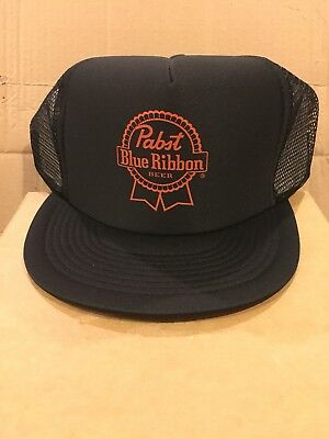 Pabst Blue Ribbon Black - Trucker Hat Snapback Pbr Beer