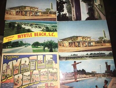 Lot Of Six Vintage Myrtle Beach, Sc Postcards- Never Used!