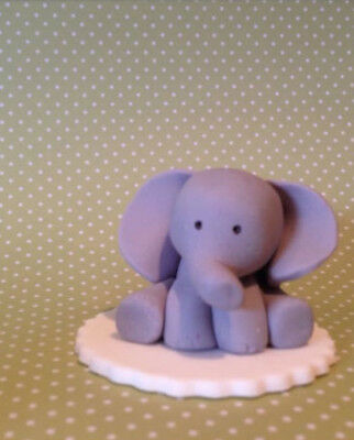 6 X 3D EDIBLE Baby Eliphant Cupcake toppers Zoo Birthday cake on fondant disks