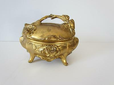 Beautiful Vintage French Gold Metal Art Nouveau Jewelry Casket