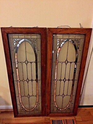 Antique Leaded Stained Glass Windows 39 x 14